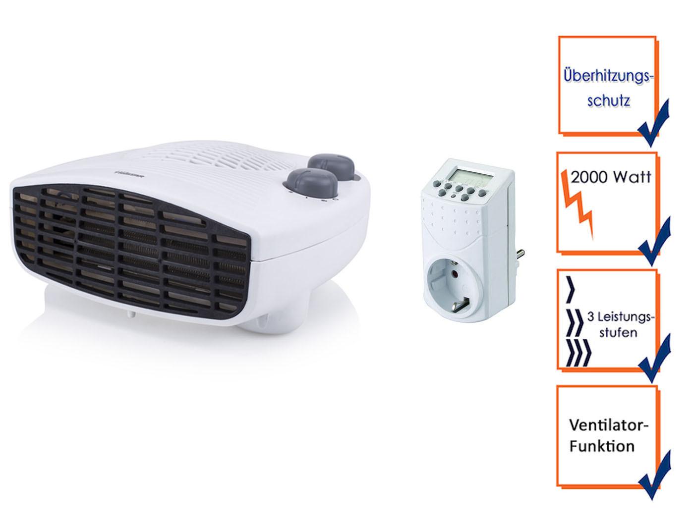 Elektro Schnellheizerset mit Zeitschaltuhr Thermostat Ventilator ...