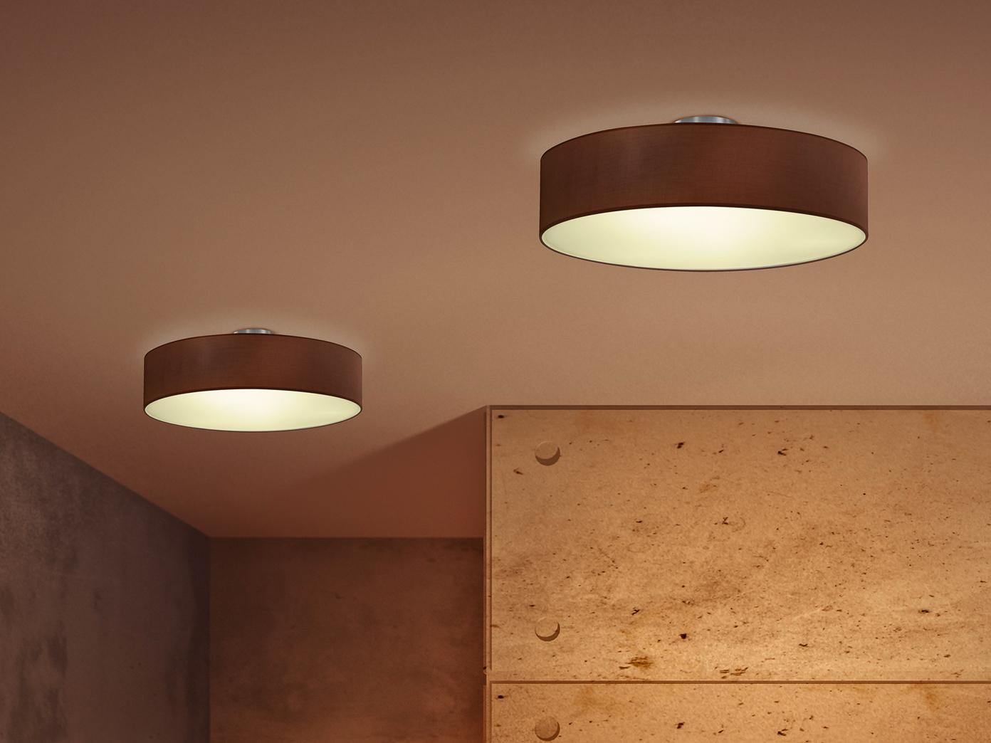 trio design deckenleuchte rund 50cm stoff schirm braun 3x. Black Bedroom Furniture Sets. Home Design Ideas