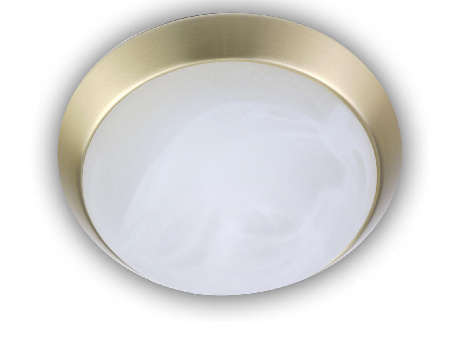 Korridorleuchte Dekorring Nickel matt Ø 35cm Deckenleuchte rund Alabasterglas