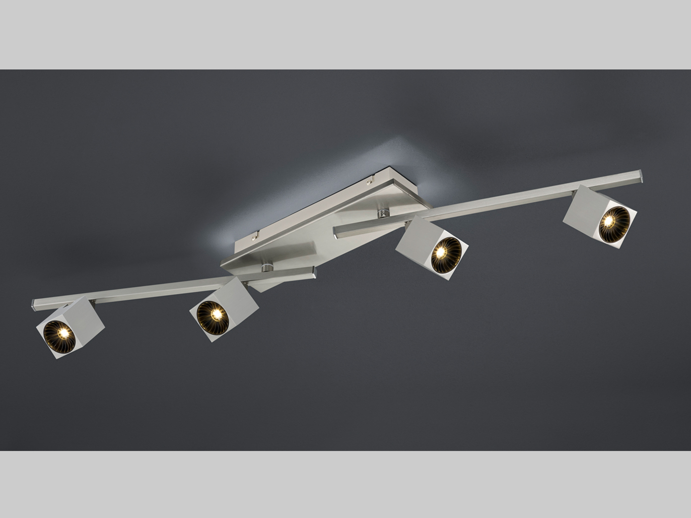 LED Deckenleuchte 4fl. in Nickel matt mit indirekter Beleuchtung für ...