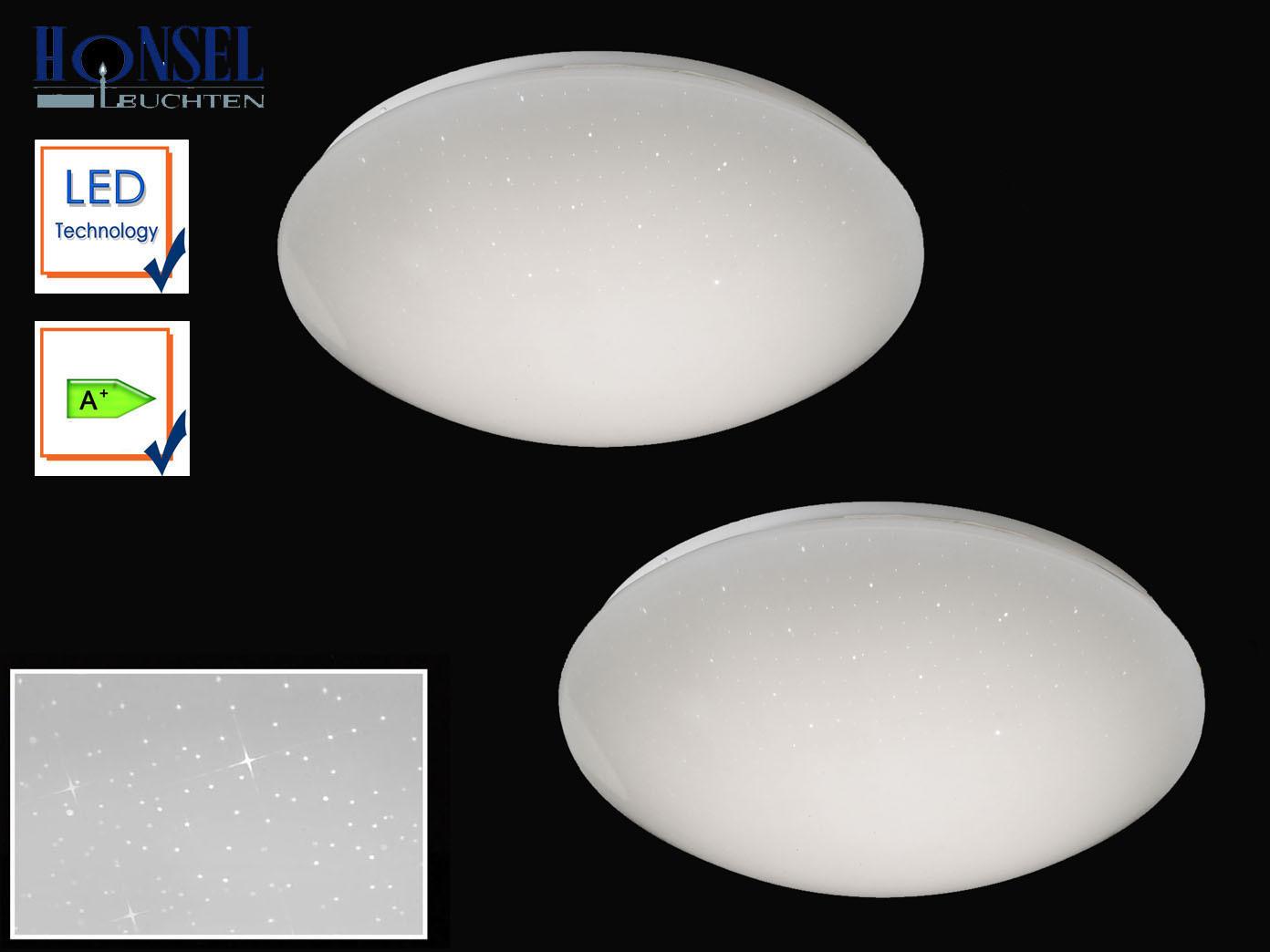 2x Honsel LED Deckenleuchte HEAVEN rund 36cm Sterndekor Deckenlampe  Schlafzimmer