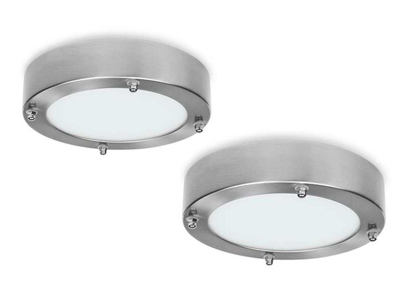 Runde Deckenleuchten fürs Badezimmer im 2er SET mit 12W LED, Stahl & Glas,  IP44
