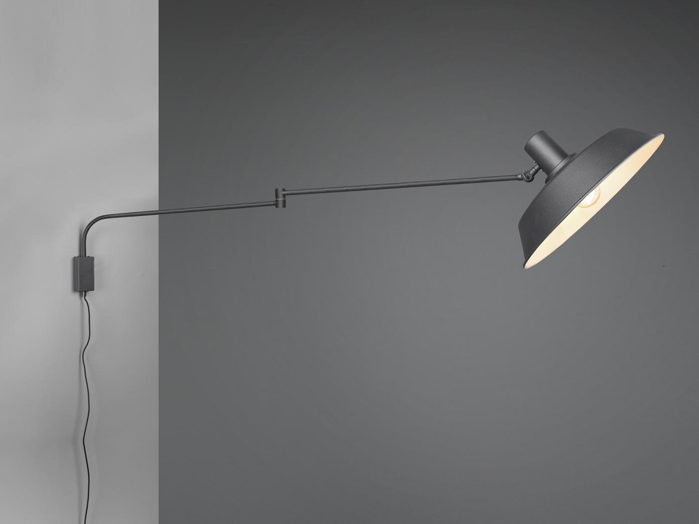 Wandlampe Schwenkarmleuchte mit Teleskoparm Metallschirm Kabel Schalter  Stecker   yatego.com