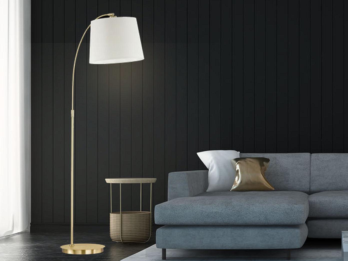 Designklassiker Led Bogenlampe Messing Stoff Beige Esstisch