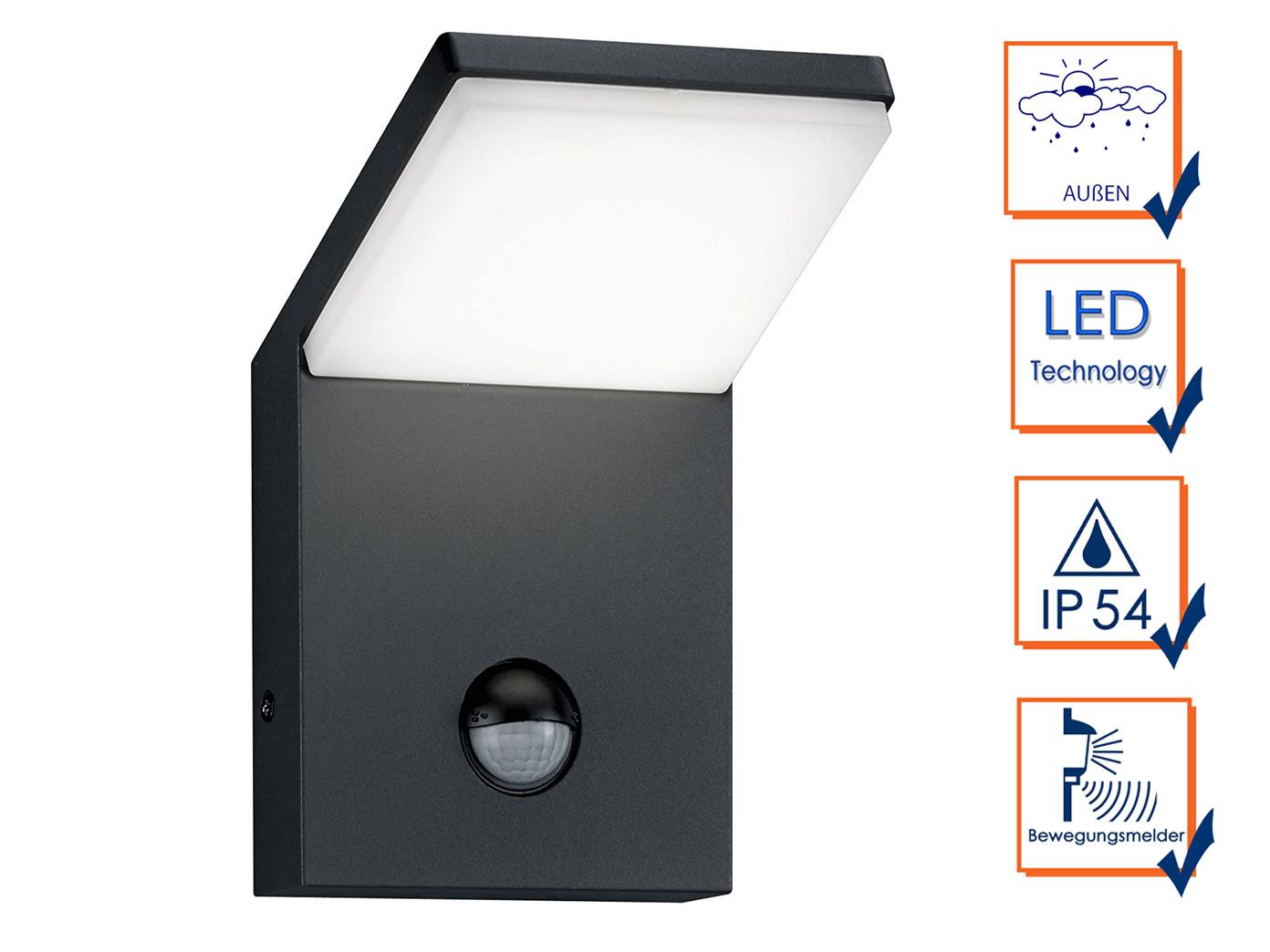 led au enwandlampe mit bewegungsmelder anthrazit 2. Black Bedroom Furniture Sets. Home Design Ideas