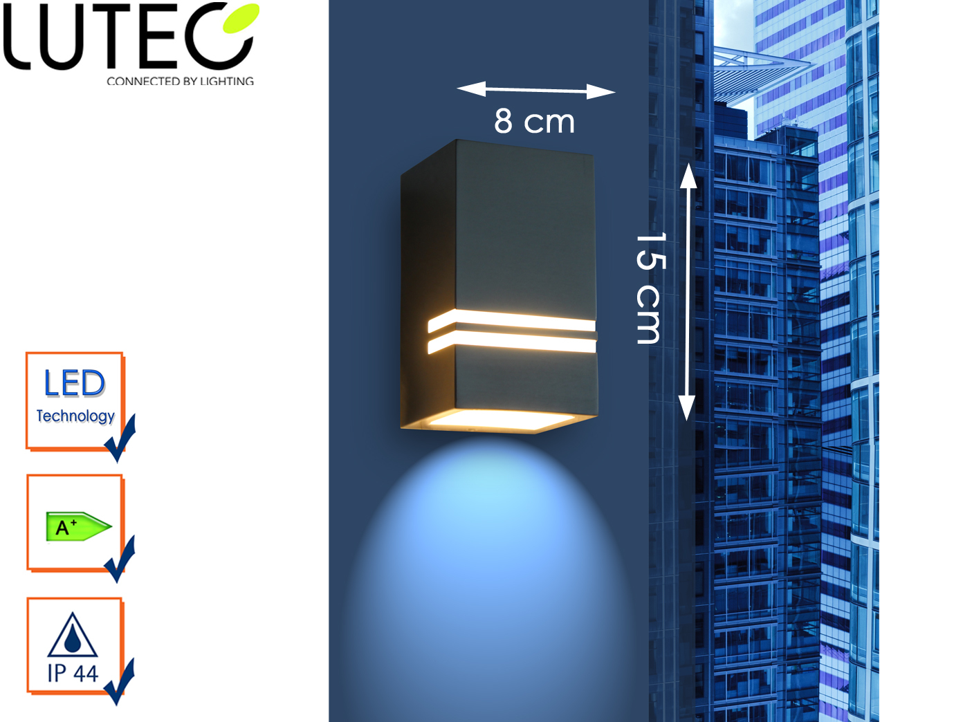 15cm IP44 Fassadenbeleuchtung Terrasse Wege Außenwandleuchte LED Edelstahl H