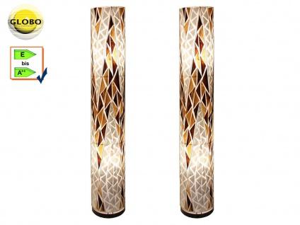 2 Stk. Globo Design Stehlampen BALI, 150cm, Textil Muscheln, Wohnzimmerlampen