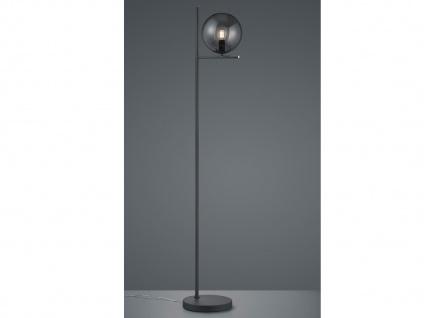 Design Stehleuchte in Anthrazit mit Lampenschirm Glaskugel grau fürs Wohnzimmer