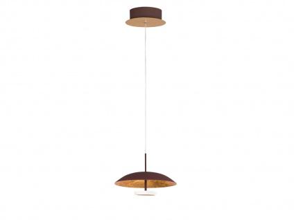 Höhenverstellbare LED Pendelleuchte Braun / Gold 4, 5 Watt Ø 21, 5cm Esstischlampe
