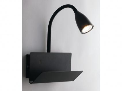 Flexible USB LED Leselampe Schwarz, Wandleuchte mit Schalter Ablage Ladefunktion