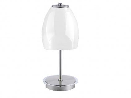 LED Tischleuchte mit Glasschirm weiß glänzend Ø14cm, Nachttischlampe Flurleuchte