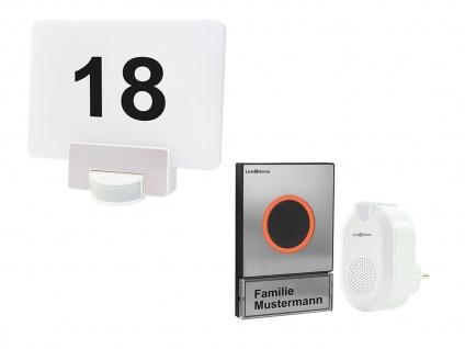 1 Familienhaus drahtlos Klingelanlage Edelstahl + LED Hausnummernleuchte für App