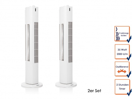 2er Set Turmventilator Timer Funktion oszillierend 3Stufen 35W Säulenventilator