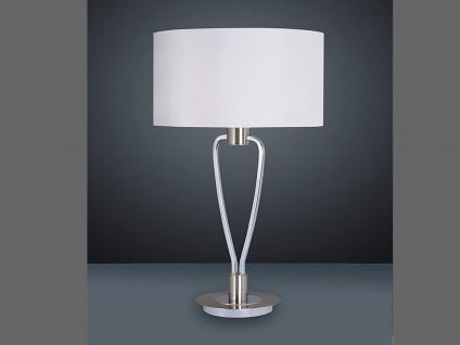 LED Stehlampe mit weißem Stoffschirm rund Ø 35cm H. 58cm moderne Wohnzimmerlampe