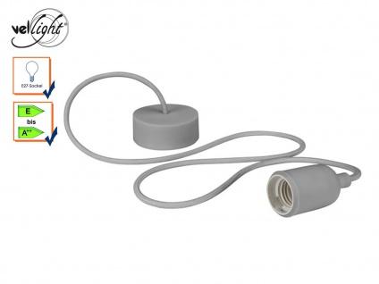 Universal Schnurpendel Textil grau Hängelampe E27, Baldachin Pendelleuchte