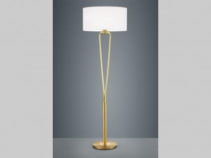 Standlampe in Messing matt mit STOFF Lampenschirm weiß Ø 50cm - Wohnraumleuchten