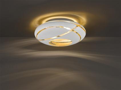 Design Deckenleuchte Ø40cm mit GLAS Lampenschirm in Weiß innen Gold für Eßzimmer