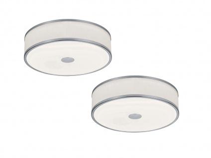 Switch Dimmer LED Deckenleuchten im 2er SET, Stoffschirmlampen in Silber & Weiß