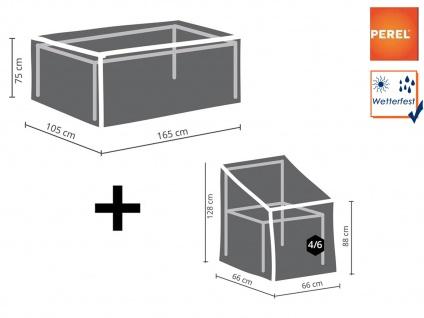 Abdeckplanen Set: 1x Hülle für Tisch max. 160cm + 1x Hülle für 4-6 Stapelstühle