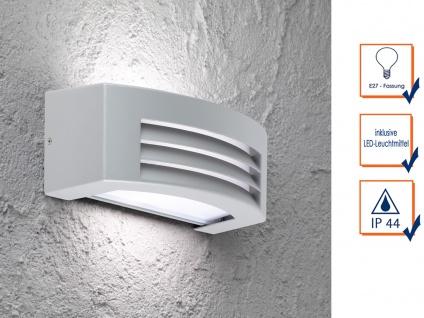 Design Außenwandleuchte mit LED Aluminium grau B. 29, 2cm IP44 Wandleuchten Haus