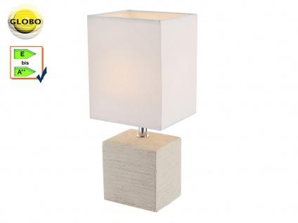 Globo Tischleuchte GERI Keramik, Stoff weiß, kleine Wohnzimmerlampe klassisch