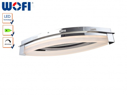 LED Deckenlampe dimmbar, Chrom / Acrylglas, Wofi-Leuchten