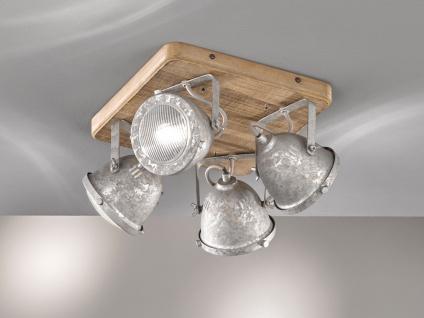 4flammiger Deckenstrahler Holz & Metall zink antik, Deckenlampe Industrial Style