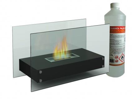 Großer Tischkamin 70cm mit 1L Bioethanol - Tischfeuer Glaskamin Indoor & Outdoor