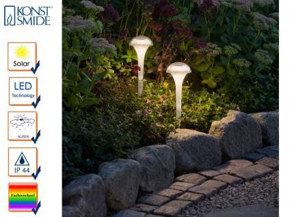 LED Solarleuchten 2er Set Farbwechsel & Erdspieß Höhe 35cm, IP44 Gartenleuchte - Vorschau 1