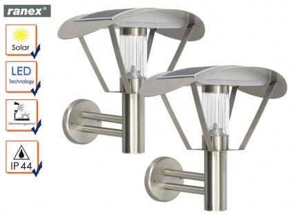 2er-Set Solar LED Außenwandleuchten Wandleuchte Dämmerungssensor Wandstrahler