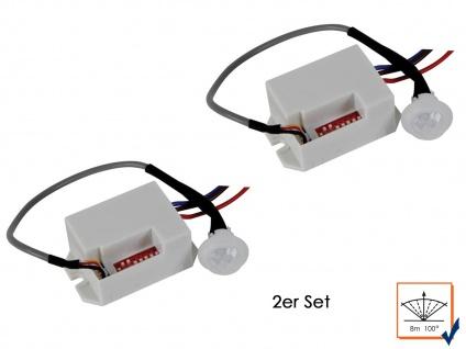 2er Set Mini PIR-Bewegungssensor, 100°/8m, weiß, Bewegungsmelder PIR Sensor
