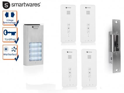 Set: Vierparteien Türsprechanlage mit Türöffner für normale Türen rechts / links