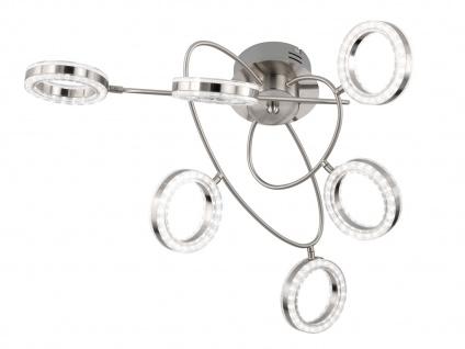 LED Deckenleuchte 6 schwenkbare Spots Nickel matt Desgin Deckenlampe Wohnzimmer - Vorschau 2