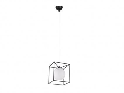 Pendelleuchte Industrie Design mit Metallcorpus in schwarz und weißer Glaskugel - Vorschau 5