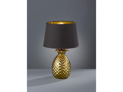 LED Tischleuchte Ananas aus Keramik mit Stofflampenschirm Ø28cm in Gold/Schwarz