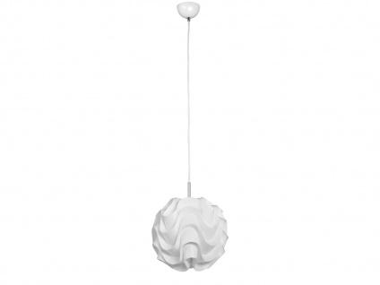 Design Pendel-Leuchte MARILYN, Kunststoff weiß, Kugelform gewellt