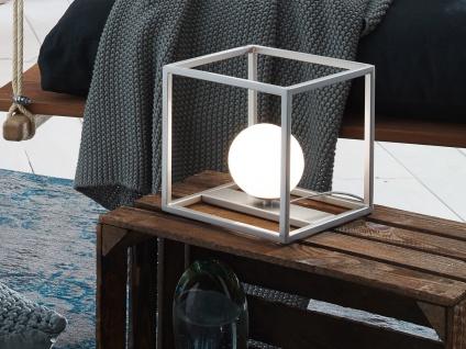 DESIGN LED Kugel Nachttischleuchte Nickel matt Glasschirm Opalweiß - Wohnzimmer