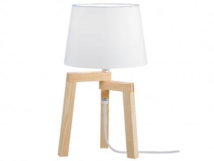 Design Nachttischleuchte mit Stoff Lampenschirm & Holzfuß E14 -fürs Wohnzimmer
