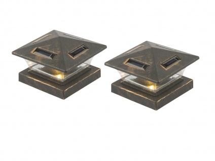 LED 2X Solarlampen für Zaunpfosten, Terrassenbeleuchtung, Balkongeländer schwarz