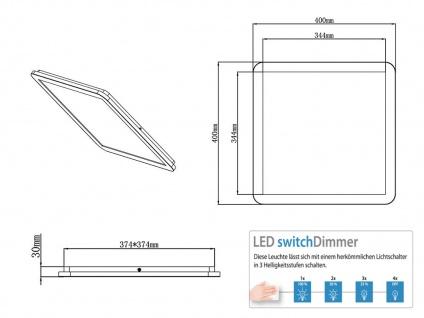 Coole LED Flurlampe eckig mit Switch Dimmer, IP44 Deckenleuchte Bad 40x40cm - Vorschau 5
