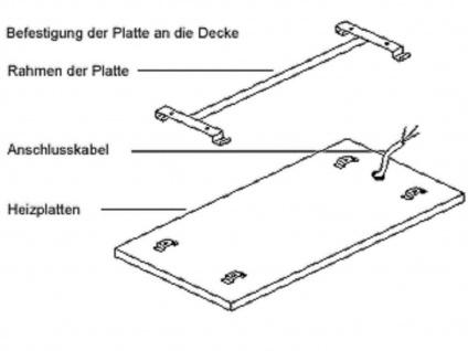600W Infrarotheizung, 120x60 cm, für Räume 15-30m³, bemalbar, IP44 - Vorschau 4