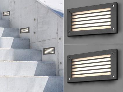 LED Wandeinbauleuchten außen Set grau Treppenbeleuchtung Orientierungsleuchten