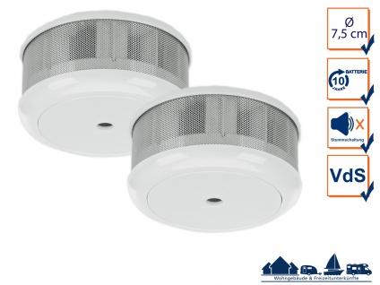2er-Set Mini 10-Jahres Rauchwarnmelder VDS & DIN EN14604/ Maße nur 75 x 35 mm