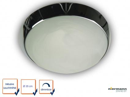 LED Flurlampe LED Dielen Beleuchtung Ø35cm Glaslampe Alabaster Zierring CHROM