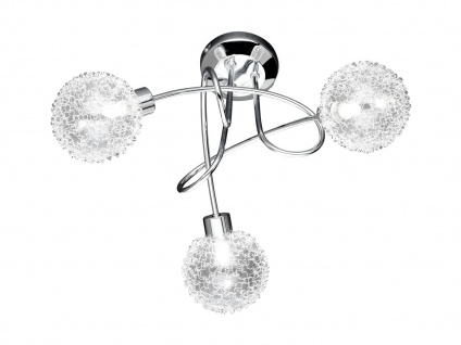 Deckenleuchte Chrom, Glaskugeln mit Drahtgeflecht, Wofi-Leuchten