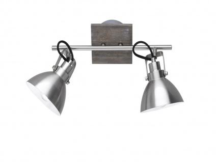 Deckenlampe mit 2 schwenkbaren Spots, Vintage Look Metall Nickel matt holzfarbig - Vorschau 1