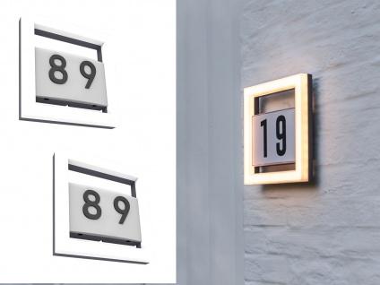 Flache Edelstahl Hausnummernleuchten SET - 2 eckige LED Wandstrahler für draußen