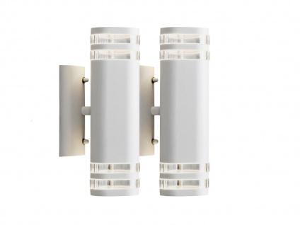 2er Set Up-Down Wandleuchte MODENA Aluminium weiß GU10 H. 28, 5cm Außenleuchte