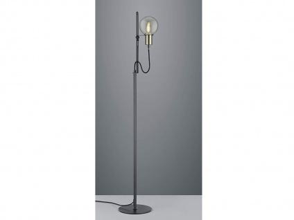Stehleuchte höhenverstellbar bis 140cm in schwarz matt mit transparentem Glas