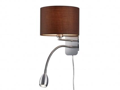 Wandleuchte mit Stoffschirm braun und LED Leselampe fürs Bett - Stecker Kabel - Vorschau 1